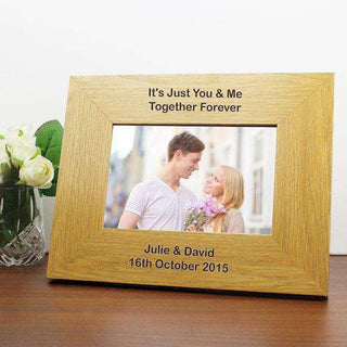 Personalised Oak Finish 6x4 Landscape Photo Frame - Long Message from Pukkagifts.uk