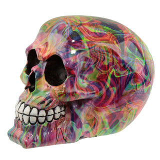 Rainbow Marble Skull Ornament