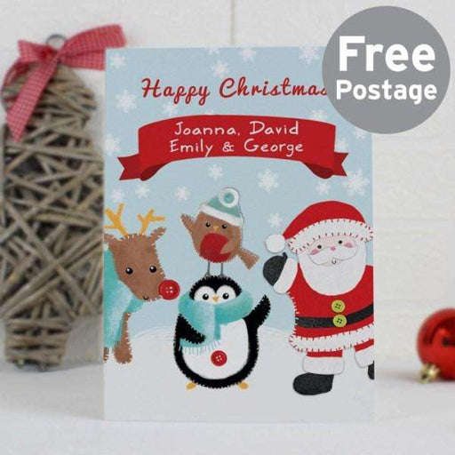 Personalised Santa & Friends Christmas Card from Pukkagifts.uk