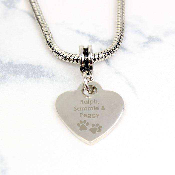 Personalised Pet Memorial Pawprint Heart Charm Necklace from Pukkagifts.uk