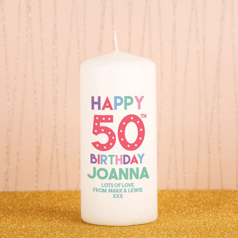 Personalised 50th Birthday Candle from Pukkagifts.uk