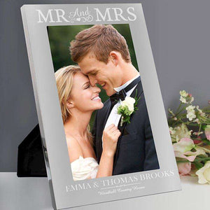 Personalised Mr & Mrs Silver Photo Frame 5x7,Pukka Gifts