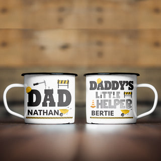 Personalised Dad & Daddy's Little Helper Enamel Mug Set