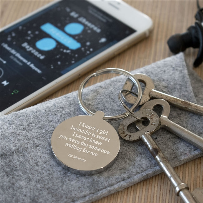 Personalised Favourite Song Lyric Keyring from Pukkagifts.uk