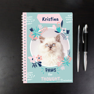Personalised Rachael Hale 'Paws for Thought' Cat A5 Notebook