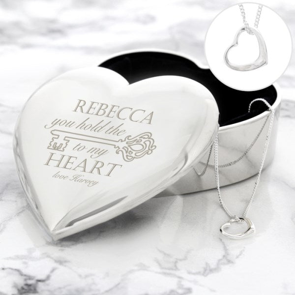 Personalised Key to My Heart Trinket Box & Necklace Set from Pukkagifts.uk