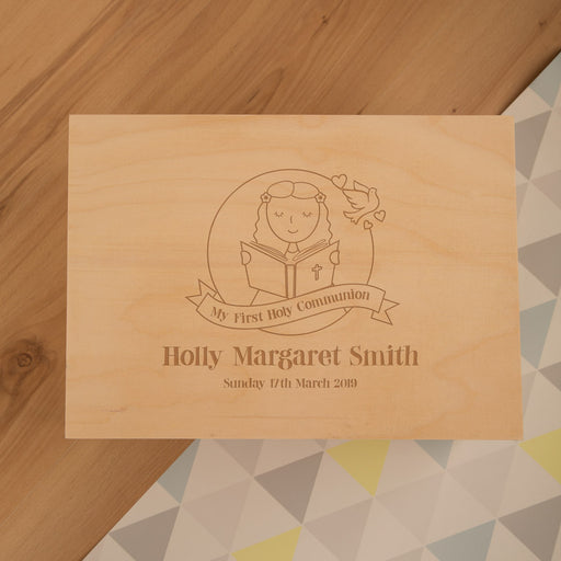 Personalised Laser Engraved 1st Holy Communion Keepsake Box for a Girl from Pukkagifts.uk