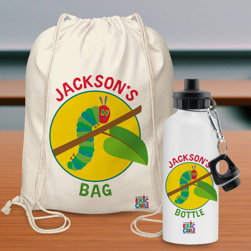 Personalised Very Hungry Caterpillar Drawstring Bag & Drinks Bottle Set