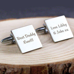 Personalised Any Message Square Cufflinks - 2 lines from Pukkagifts.uk