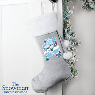 Personalised The Snowman and the Snowdog Luxury Silver Grey Christmas Stocking