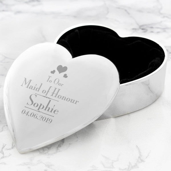 Personalised Decorative Wedding Maid of Honour Heart Trinket Box from Pukkagifts.uk
