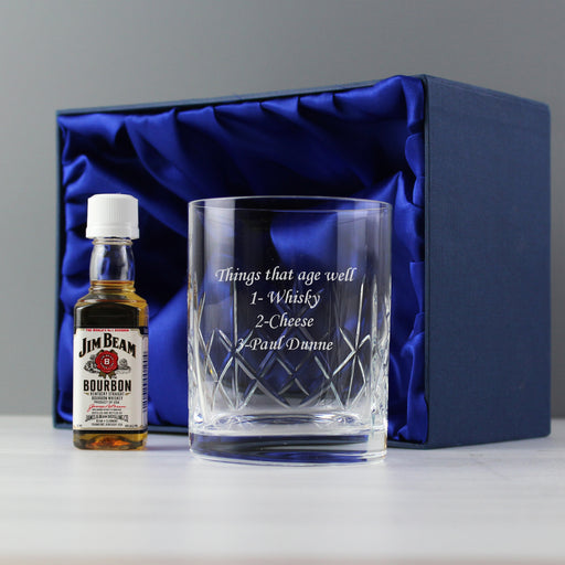 Personalised Cut Crystal Tumbler Glass & Bourbon Whiskey Miniature Set