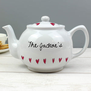 Personalised Hearts Teapot from Pukkagifts.uk