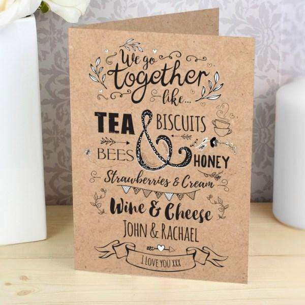 Personalised We Go Together Like... Card from Pukkagifts.uk