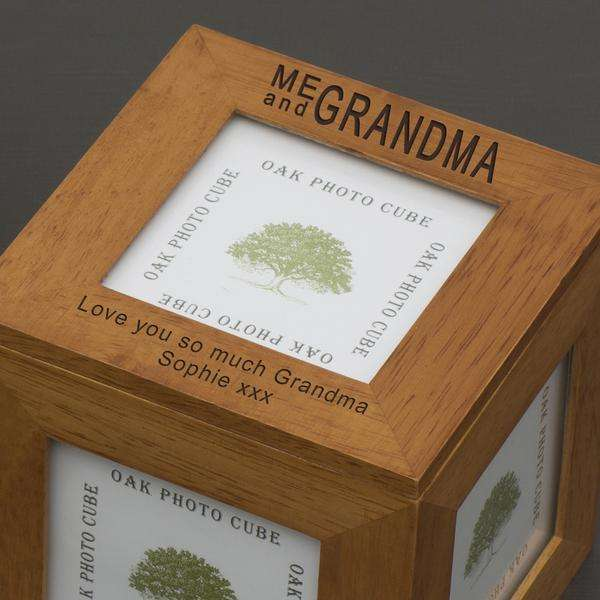 Personalised Me and Grandma Photo Frame Cube Oak from Pukkagifts.uk