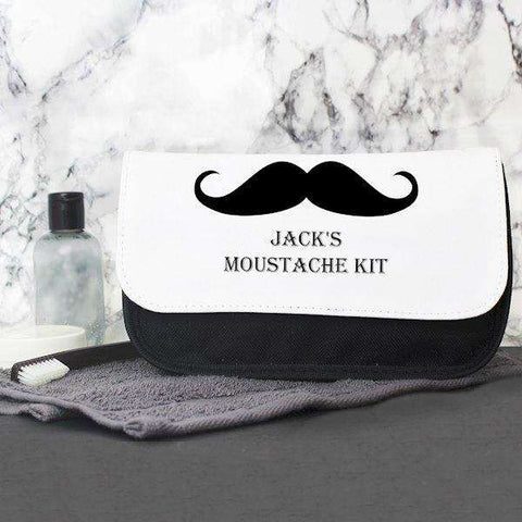 Personalised Moustache Men's Wash Bag from Pukkagifts.uk
