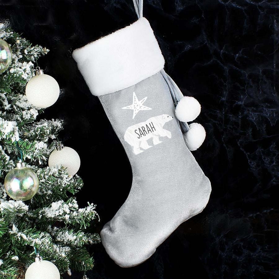 Personalised Polar Bear Luxury Silver Grey Christmas Stocking