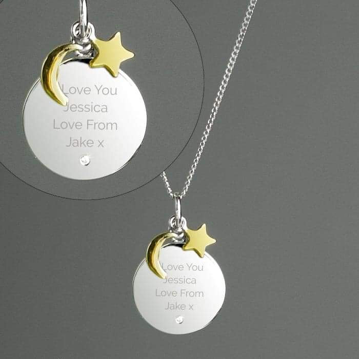 Personalised Moon & Stars Sterling Silver Necklace from Pukkagifts.uk