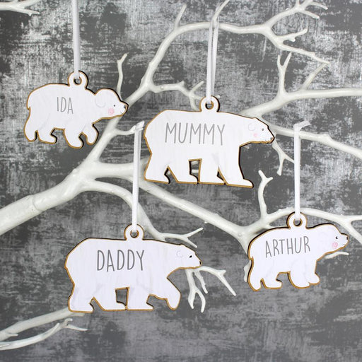 Personalised Set of Four Polar Bear Family Wooden Hanging Christmas Decorations