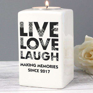 Personalised Live Love Laugh Ceramic Tea Light Candle Holder from Pukkagifts.uk