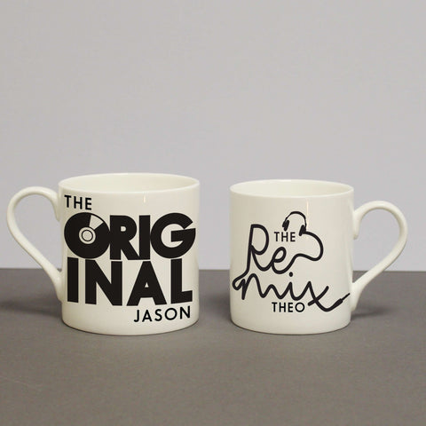 Set Of 2 Personalised Mugs - The Original & The Remix from Pukkagifts.uk