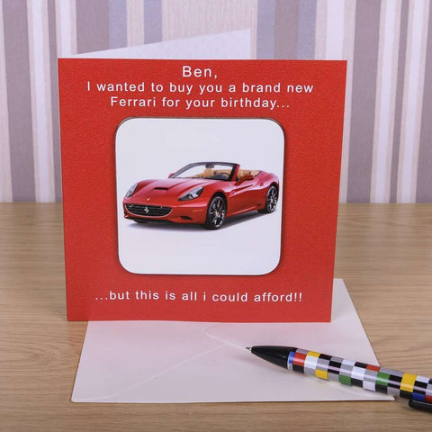 Personalised Ferrari Birthday Card With Coaster,Pukka Gifts