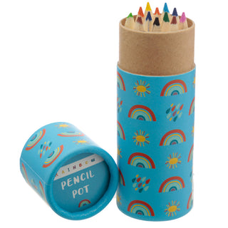Rainbow Pencil Pot with Colouring Pencils