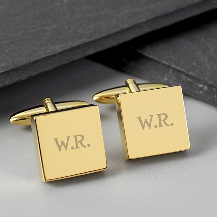 Personalised Gold Plated Square Cufflinks - www.pukkagifts.uk