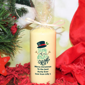 Personalised Dreaming Of A White Christmas Pillar Candle from Pukkagifts.uk