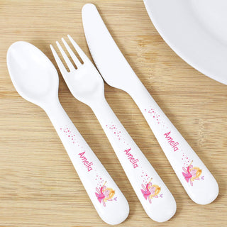 Personalised Garden Fairy 3 Piece Plastic Cutlery Set from Pukkagifts.uk