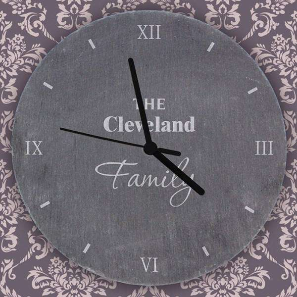 Personalised Family Slate Clock from Pukkagifts.uk