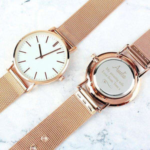 Personalised Ladies Swirls and Hearts Rose Gold Tone Watch with Presentation Box from Pukkagifts.uk