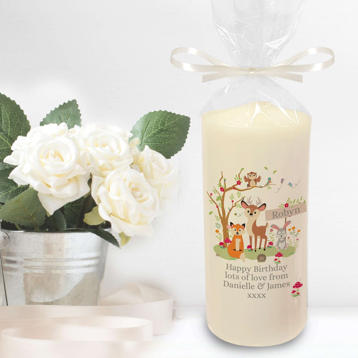Personalised Woodland Friends Pillar Candle from Pukkagifts.uk