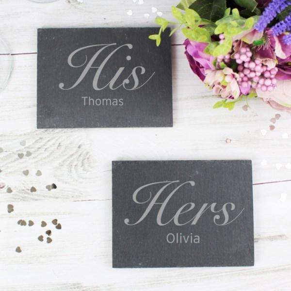 Personalised His and Hers Slate Coaster Set from Pukkagifts.uk