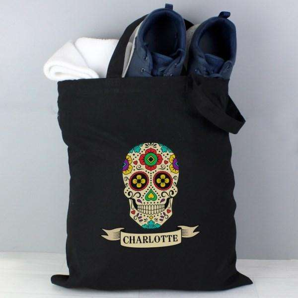 Personalised Sugar Skull Black Cotton Tote Bag from Pukkagifts.uk