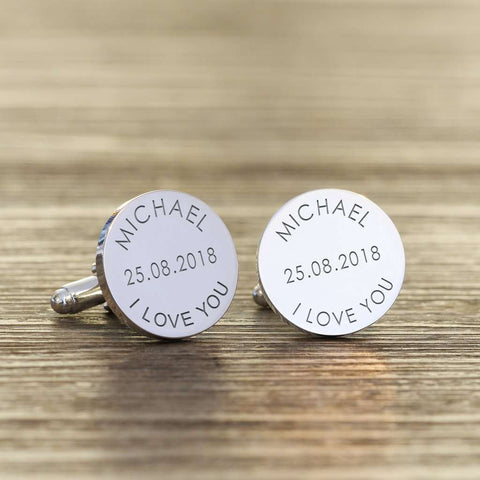 Personalised I Love You Cufflinks from Pukkagifts.uk