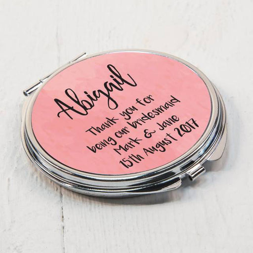 Personalised Pink Round Compact Mirror from Pukkagifts.uk