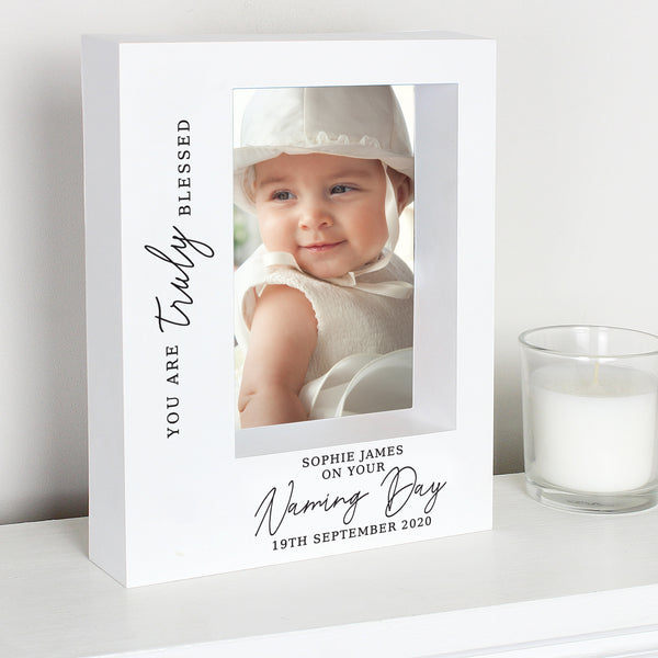 Personalised 'Truly Blessed' Naming Day Box Photo Frame 7x5
