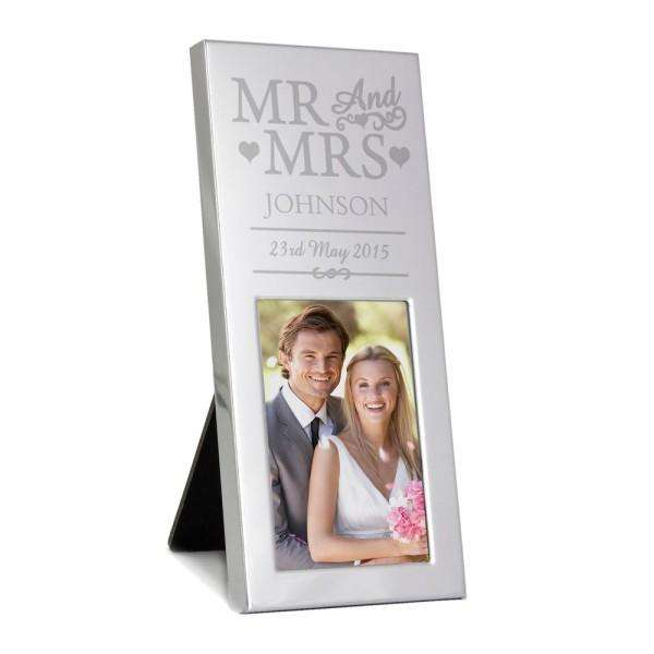 Personalised Small Silver Mr & Mrs 2x3 Photo Frame from Pukkagifts.uk