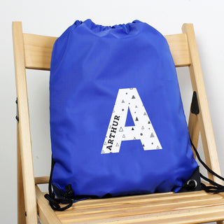 Personalised Initial Blue Kit Drawstring Bag