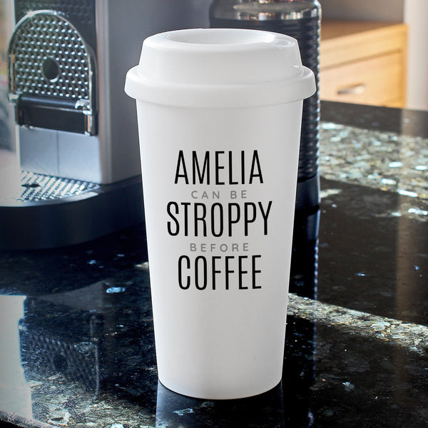 Personalised Black Text Slogan Double Walled Travel Mug