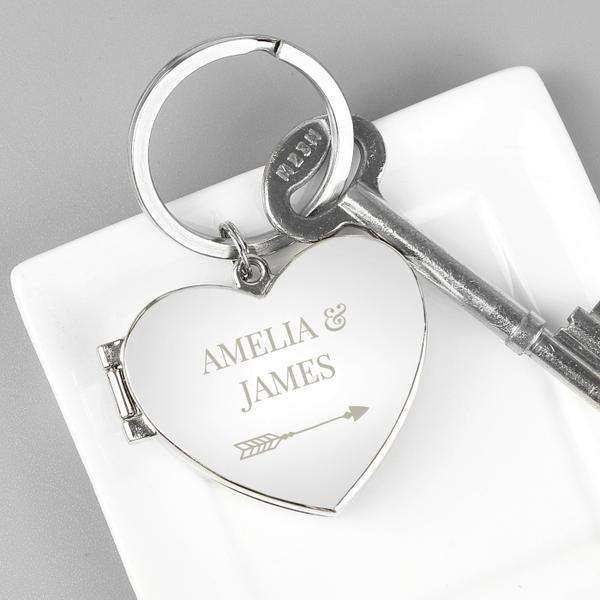 Personalised Arrow Heart Photo Frame Keyring from Pukkagifts.uk