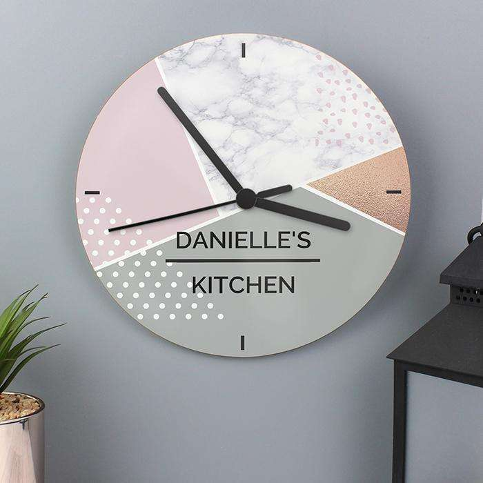 Personalised Geometric Glass Clock from Pukkagifts.uk