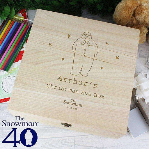 Personalised The Snowman Large Wooden Christmas Eve Box from Pukkagifts.uk