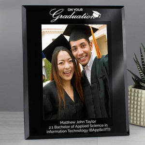 Personalised Graduation Black Glass 7x5 Photo Frame from Pukkagifts.uk