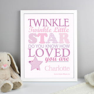 Personalised Twinkle Twinkle Little Star Pink White Framed Print