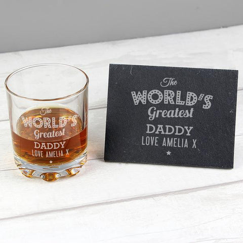 Personalised The Worlds Greatest Whisky Glass Tumbler & Slate Coaster Set from Pukkagifts.uk