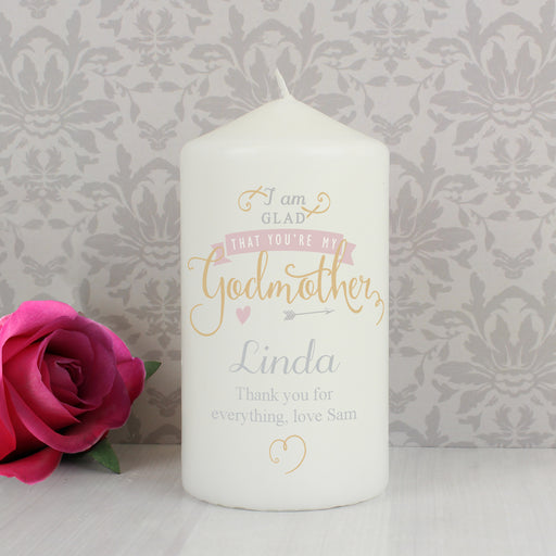 Personalised I Am Glad That You're My Godmother Candle