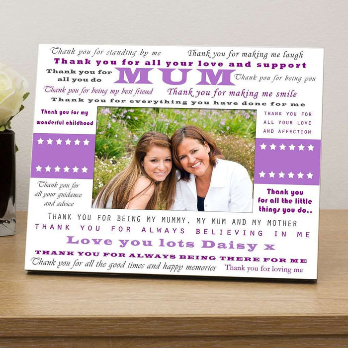 Thank You Mum Personalised Wooden Photo Frame from Pukkagifts.uk