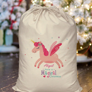Personalised Magical Unicorn Christmas Sack from Pukkagifts.uk